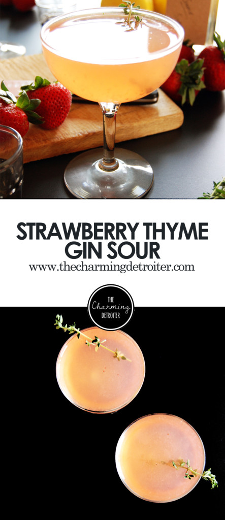 Strawberry Thyme Gin Sours: A fresh take on a classic gin sour, featuring thyme simple syrup and fresh strawberries!