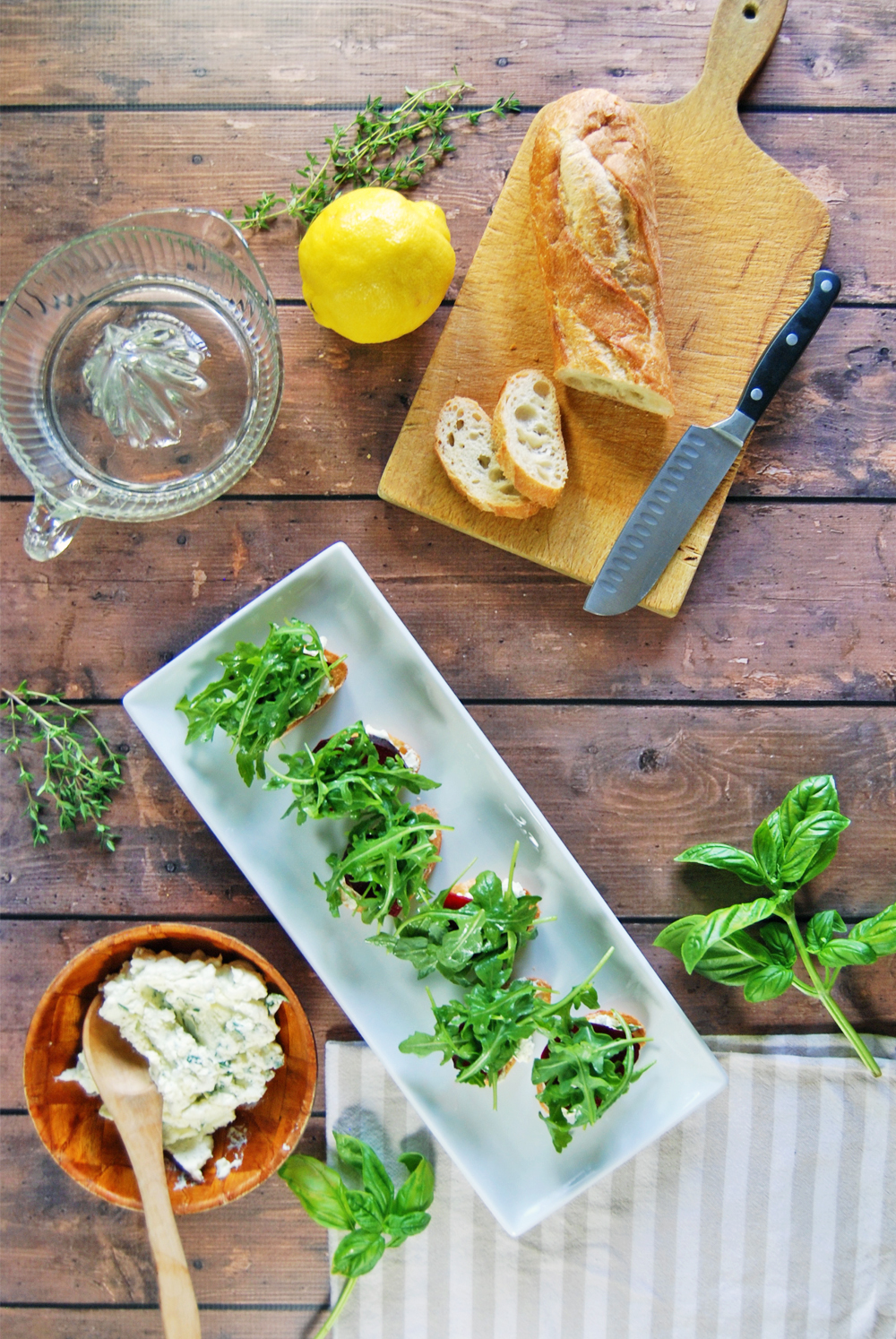 Herbed Goat Cheese Crostini with Roasted Beets and Arugula   The Charming Detroiter