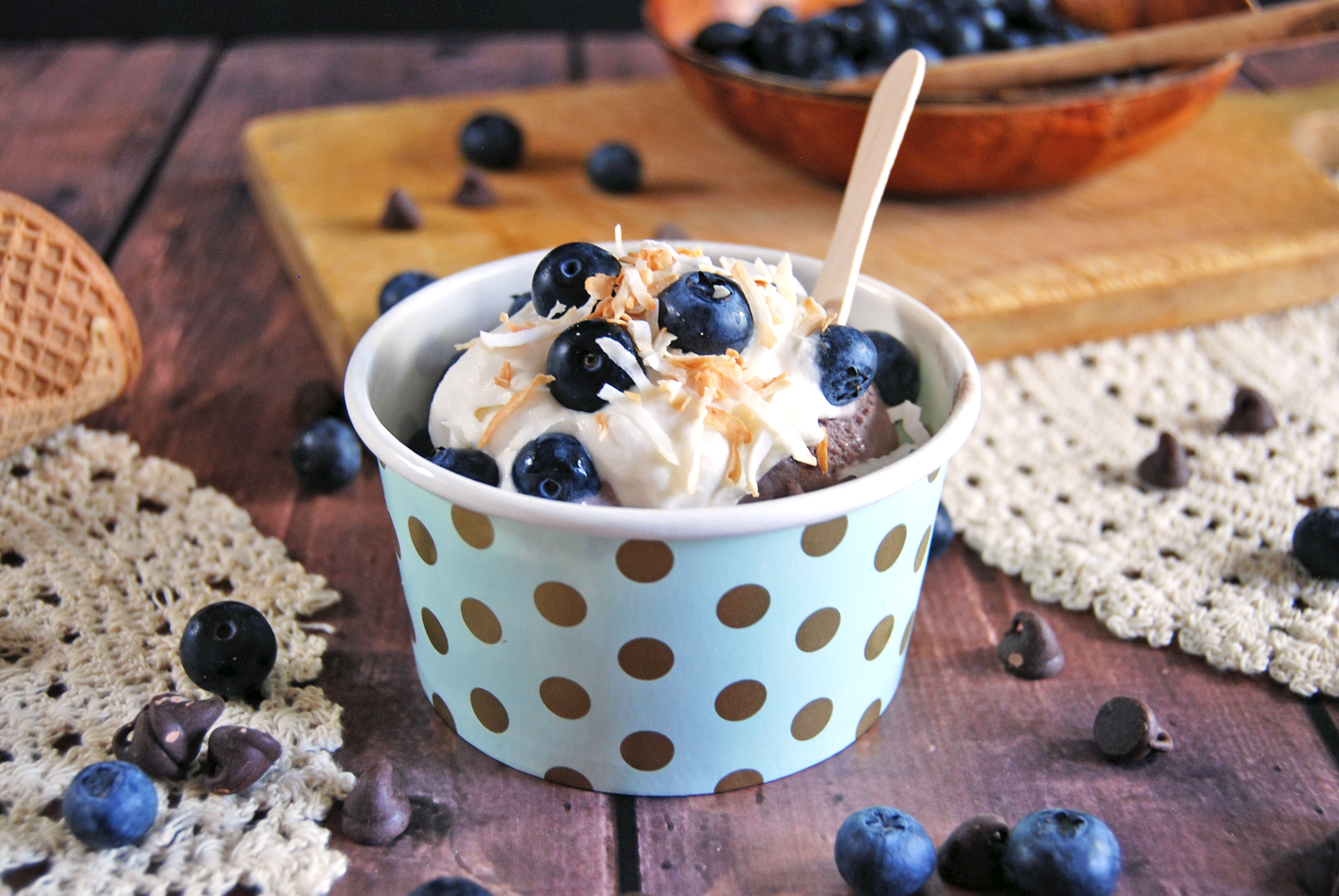Chocolate Blueberry Ice Cream with Marshmallow Cream and Toasted Coconut | The Charming Detroiter