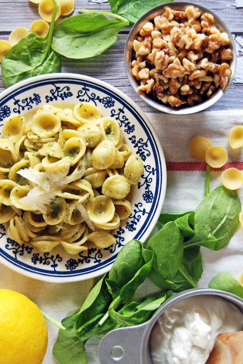 Orecchiette with Spinach Greek Yogurt Pesto
