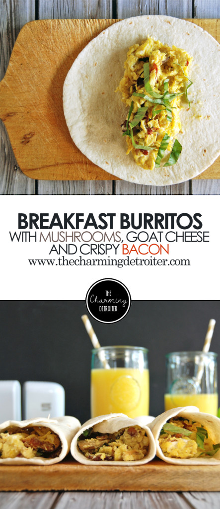 Make Ahead Breakfast Burritos: Featuring creamy scrambled eggs with goat cheese, crispy bacon, luscious goat cheese, and mushrooms.