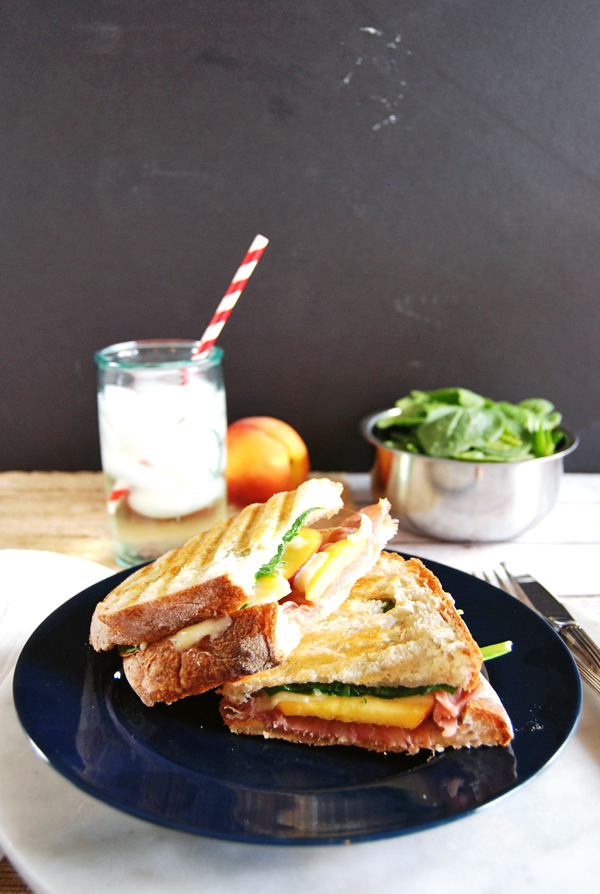 Prosciutto, Gruyere and Peaches Grilled Cheese