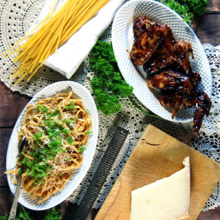 Weeknight Barbecue Chicken Wings with Pan Sauce and Linguine