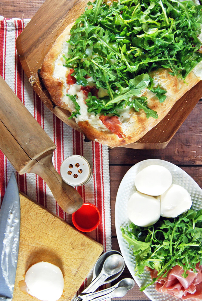 Prosciutto and Burrata Pizza with Poached Eggs and Arugula | The Charming Detroiter
