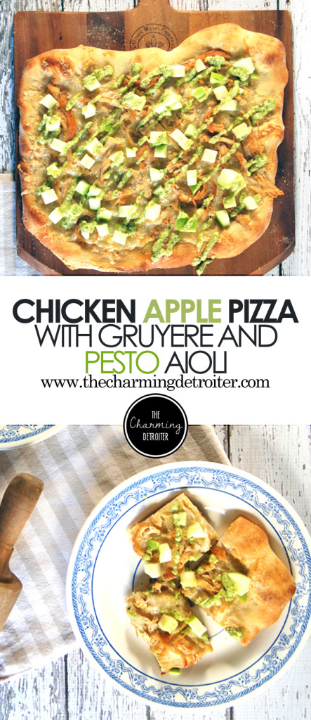 Chicken and Apple Pizza with Gruyere and Pesto Aioli: A super simple pizza recipe that will become your new favorite, featuring chicken, crispy granny smith apples, gruyere cheese and a fresh pesto aioli.
