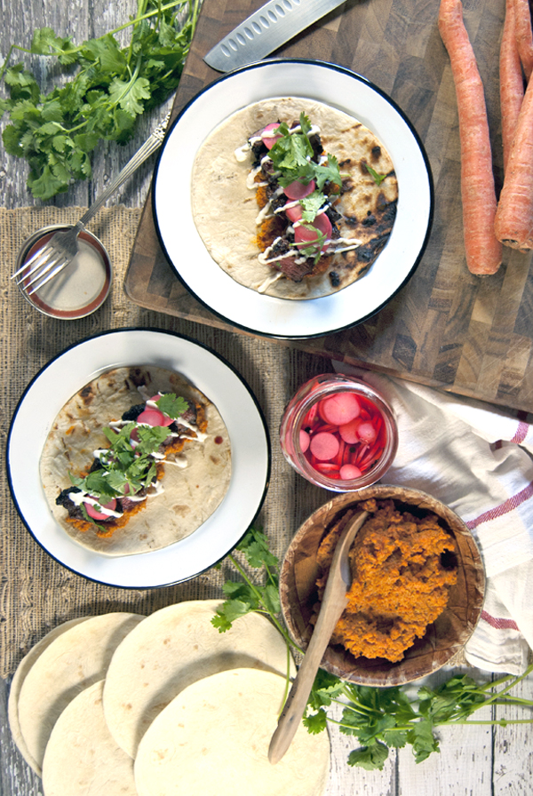 Grilled Beef Short Rib Tacos with Roasted Carrot Butter and Pickled Radishes | The Charming Detroiter