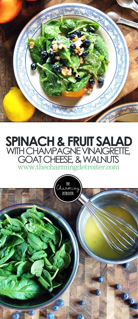 Baby Spinach and Fruit Salad: Featuring blueberries, peaches, goat cheese, and walnuts.