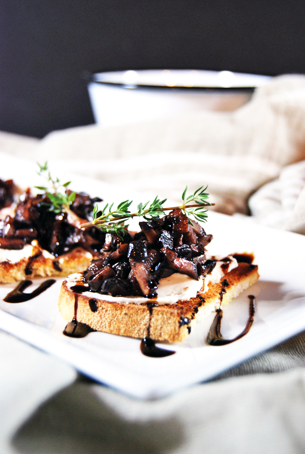 Mushroom Duxelle Crostini with Goat Cheese and Balsamic Reduction