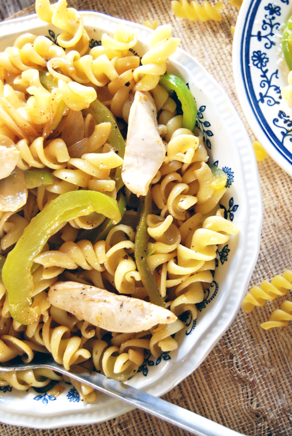 Lemon Pepper Chicken Pasta with Sautéed Onions and Bell Peppers | The Charming Detroiter