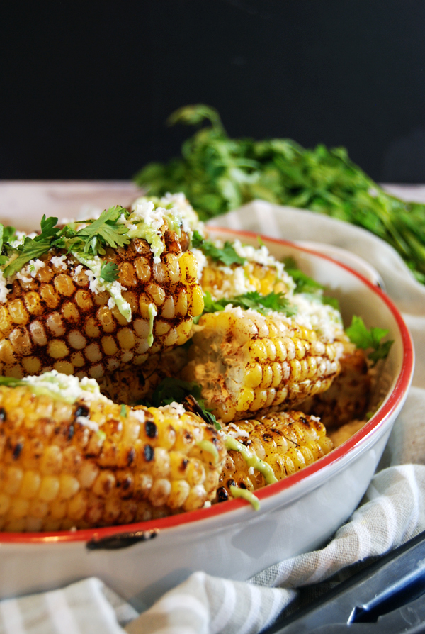 Spicy Ancho Grilled Corn with Avocado Crema and Cotija | The Charming Detroiter
