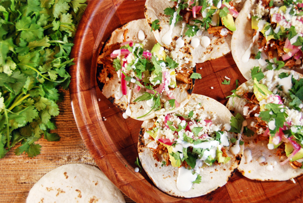 Ancho Achiote Shredded Chicken Tacos with Pickled Red Onions, Avocado, and Crema | The Charming Detroiter