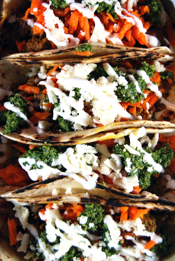 Lamb Tacos with Carrot Slaw and Cilantro Pesto | The Charming Detroiter
