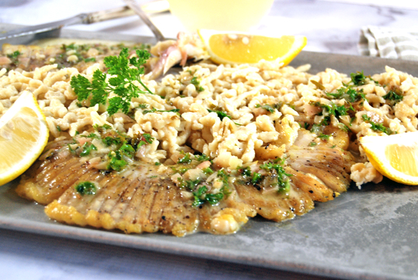 pan seared skate wing with spaetzle and lemon beurre blanc - the