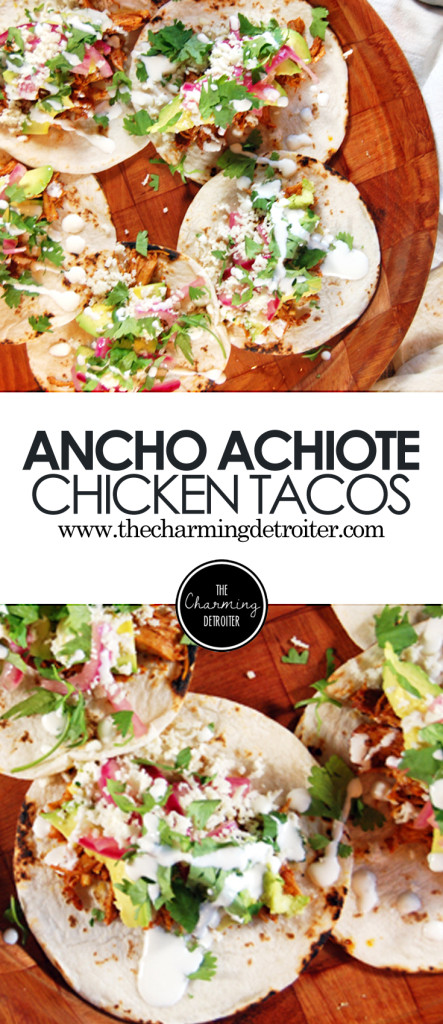 Ancho Achiote Shredded Chicken Tacos with Pickled Red Onions, Avocado, and Crema - These shredded chicken tacos feature tasty achiote paste and spicy ancho chili rub. They are then paired with quick pickled red onions, fresh avocado, and homemade crema.