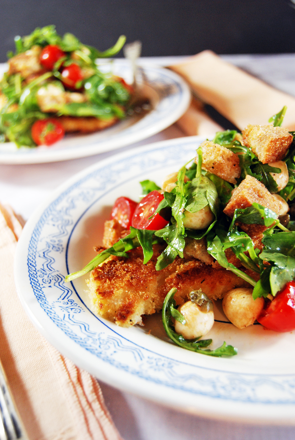 Pan-Fried Chicken Paillard with Cherry Tomato Panzanella | The Charming Detroiter