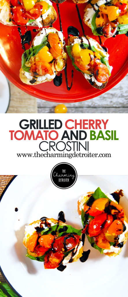 Grilled Cherry Tomato Salad Crostini with Whipped Burrata, Fresh Basil, and Balsamic Glaze: A quick 30 minute crostini! The classic flavor combination of cherry tomatoes, balsamic glaze, whipped burrata, and basil in an easy 2-bite appetizer!