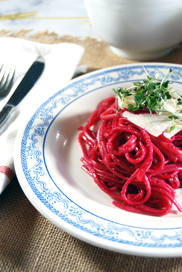 Roasted Beet Pesto with Goat Cheese over Linguine: A dish that is not only pleasing to the taste buds but a delight to look at! This roasted beet pesto is made with creamy goat cheese.