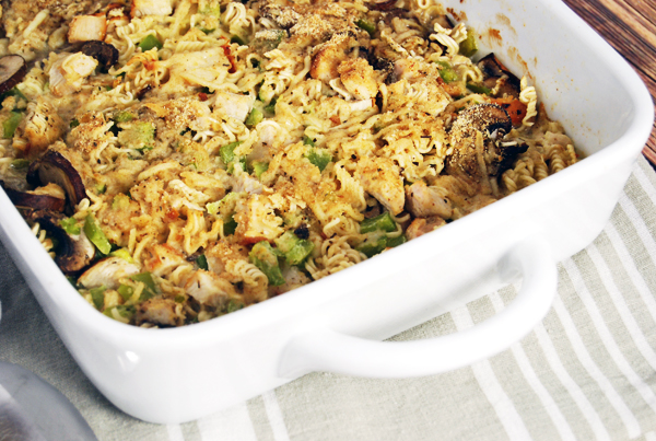 Creamy Chicken Ramen Casserole with Green Bell Peppers and Mushrooms: An inexpensive and easy weeknight casserole featuring chicken, ramen, and veggies with a cream sauce.