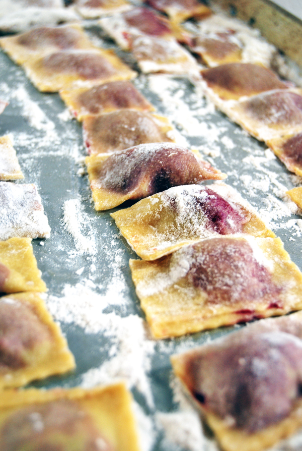 Roasted Beet and Pancetta Agnolotti with Creamy Goat Cheese Sauce and Arugula