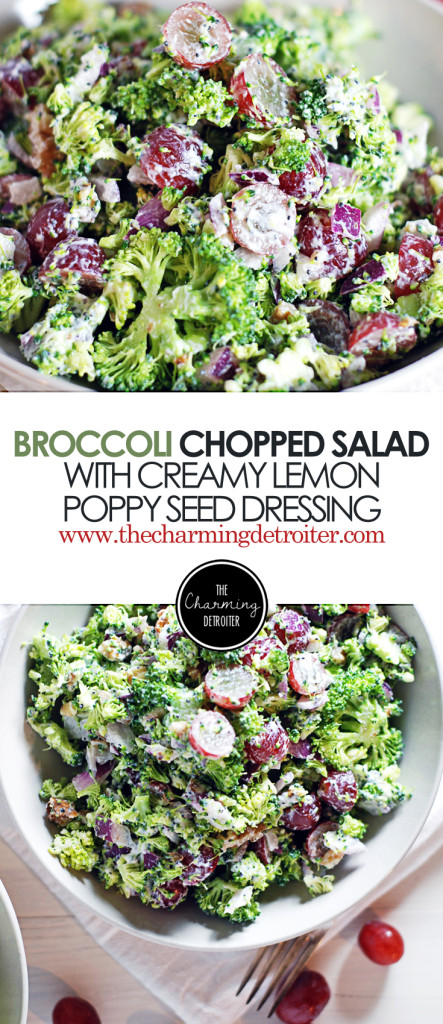 Chopped Broccoli Salad: This fresh salad features a creamy lemon poppy seed dressing, crunchy red grapes, red onion and walnuts.