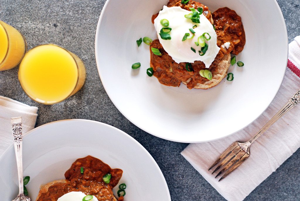 Chorizo Sausage Gravy with Homemade Biscuits and Poached Eggs: Talk about a winning breakfast! These fresh homemade biscuits are topped with spicy chorizo sausage gravy and finished with a poached egg.