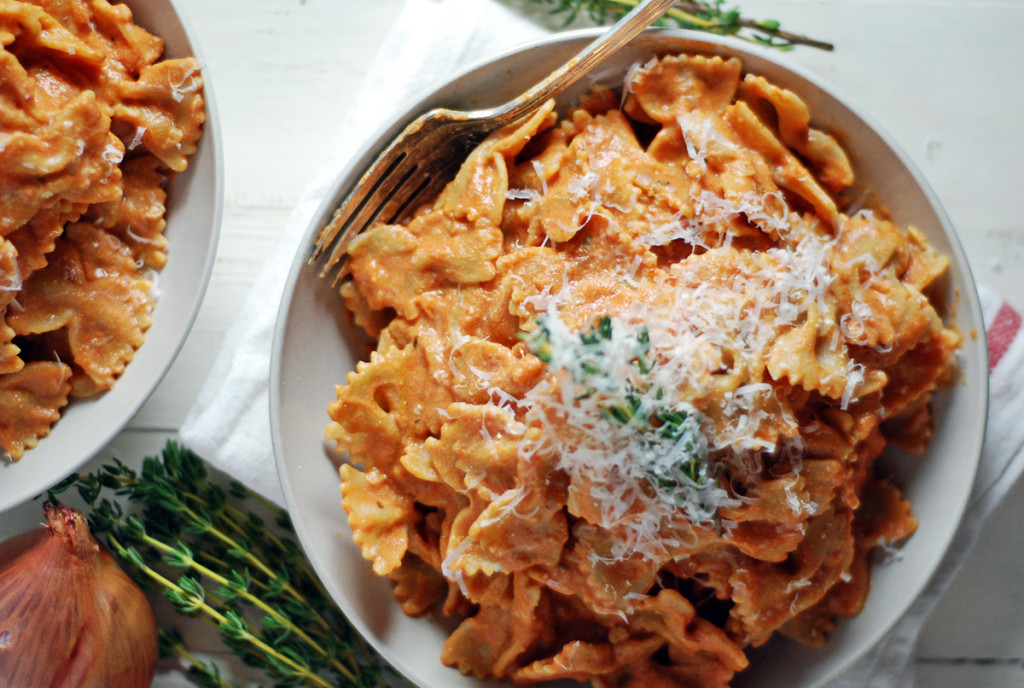 This Creamy Ricotta Tomato Sauce Features And Fresh Thyme Is Paired With Farfalle