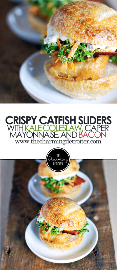 Crispy Catfish Sliders with Kale Coleslaw, Caper Mayo, and Bacon: Everyone's favorite slider sandwiches featuring miniature crispy catfish fillets, a refreshing kale and carrot coleslaw, crispy bacon, and tangy caper mayonnaise.