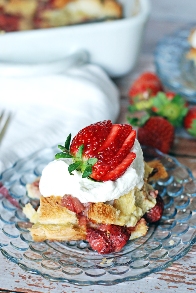 Strawberries and Cream Bread Pudding: A beautifully rich bread pudding recipe based on an old favorite: strawberries and cream!