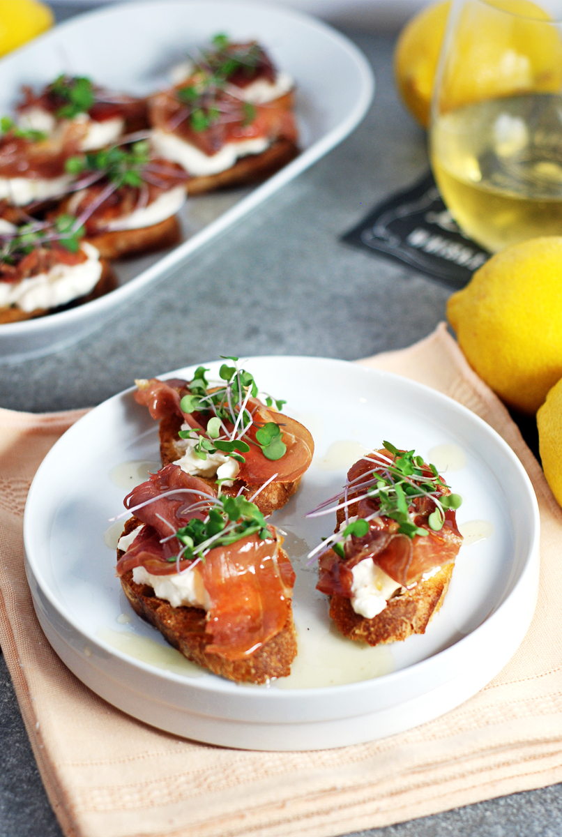Prosciutto Crostini with Burrata and Lemon Honey Drizzle