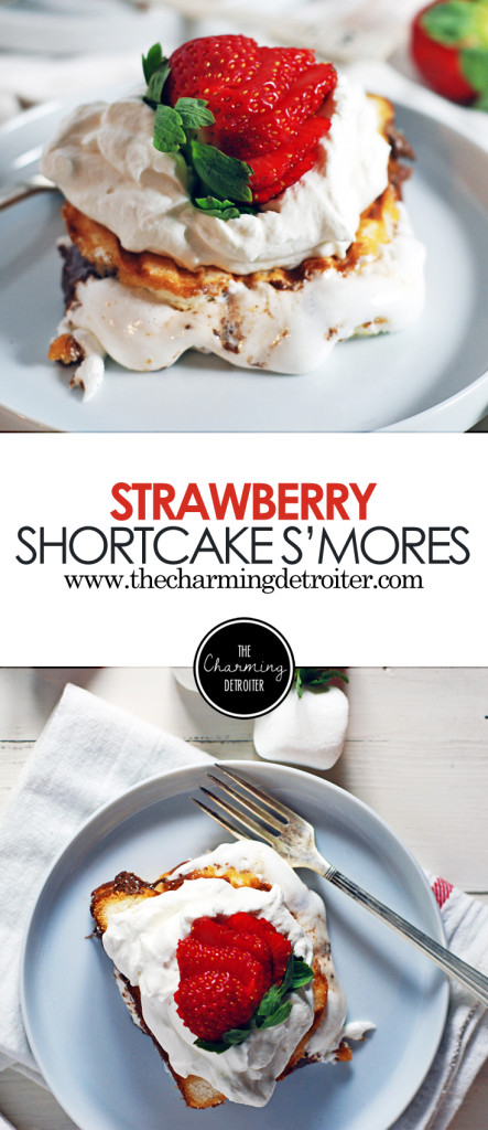 This quick strawberry shortcake recipe features a mashup between shortcake, strawberries and whipped cream with a s'more twist!