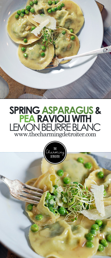 Spring Asparagus and Pea Ravioli: These light ravioli are filled with asparagus, peas, and ricotta and paired with a beautifully refreshing lemon beurre blanc sauce.