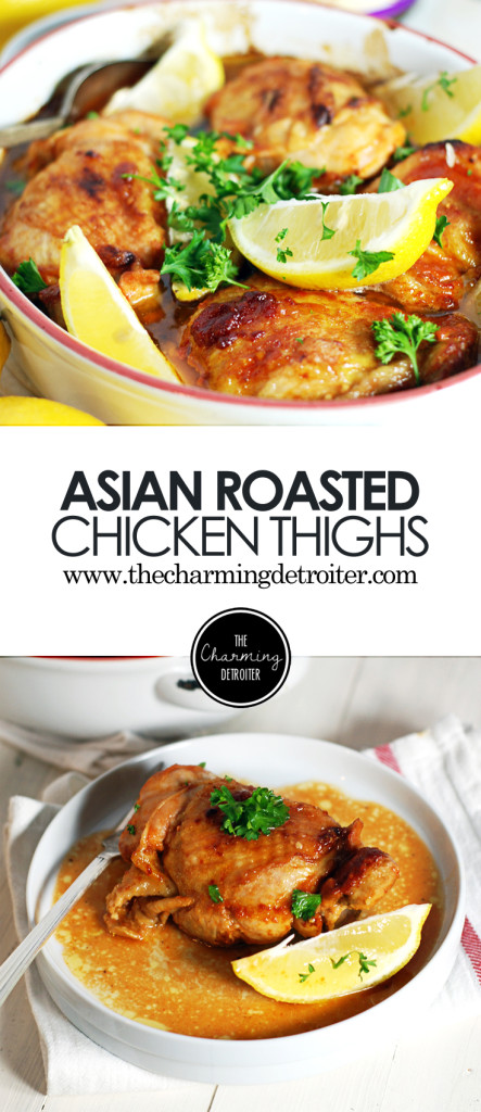 These Asian roasted chicken thighs are the perfect weeknight recipe, featuring a marinade of ginger, garlic, hoisin, gochujang, and Sapporo beer!