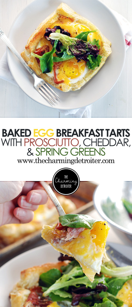 These deliciously quick breakfast tarts feature baked eggs with cheddar cheese, prosciutto, and spring greens with a simple vinaigrette.