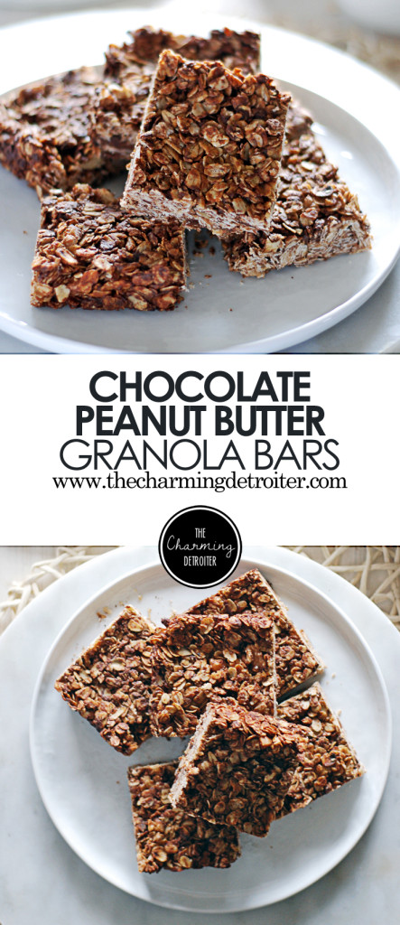 Homemade oat-filled granola bars stuffed with walnuts, mini chocolate chips, peanut butter, and honey.