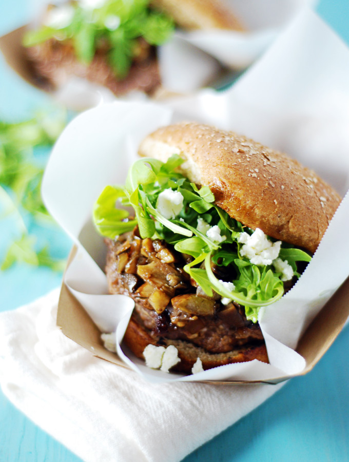 Goat Cheese Stuffed Burgers with Mushrooms and Arugula