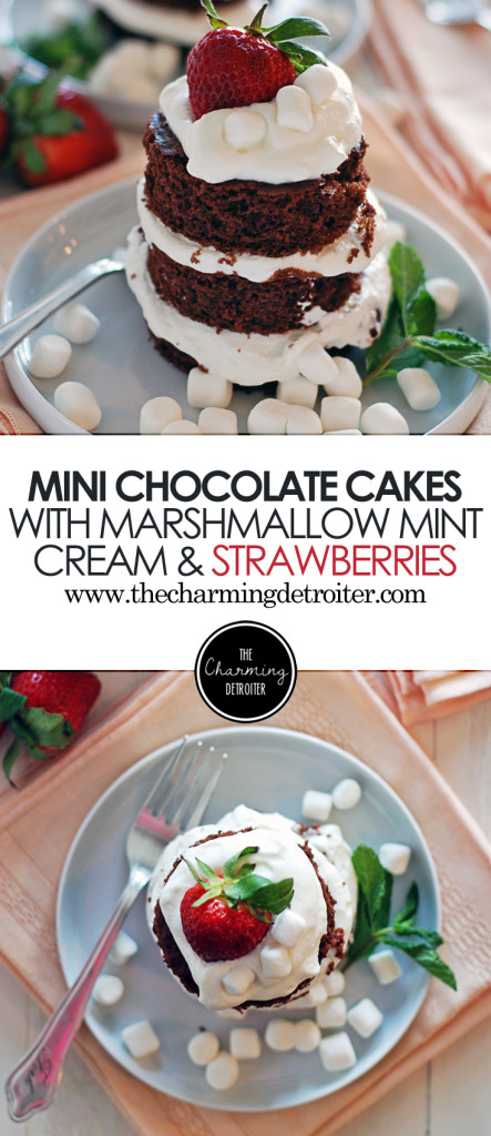 These simple mini chocolate cakes will impress all your guests, and are paired with a marshmallow mint whipped cream and fresh strawberries!