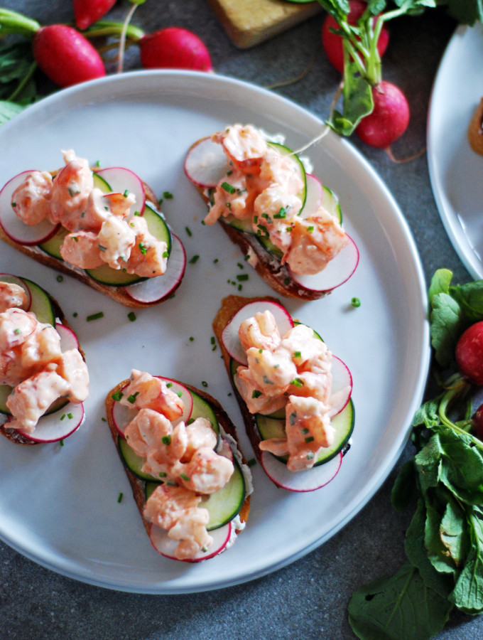 Shrimp Toasts with Fresh Cucumber and Radishes