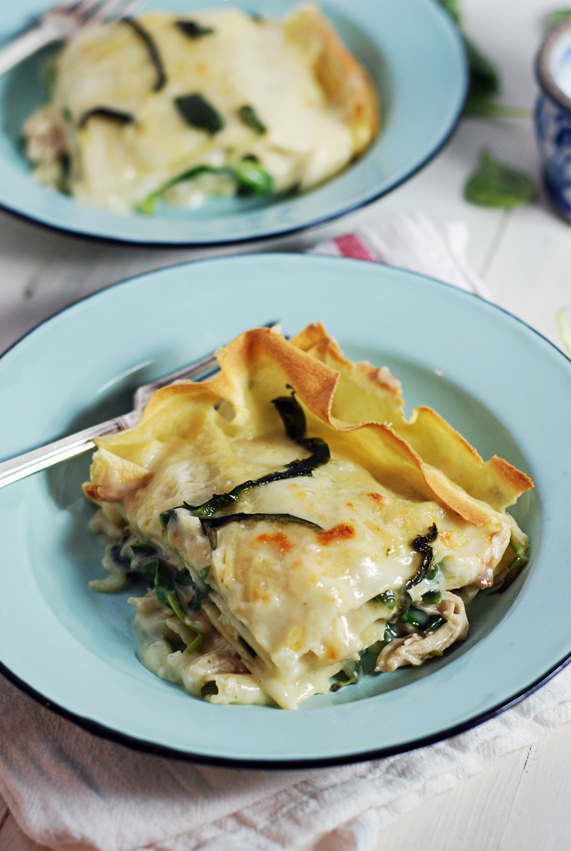White Shredded Chicken Lasagna with Poblano Peppers