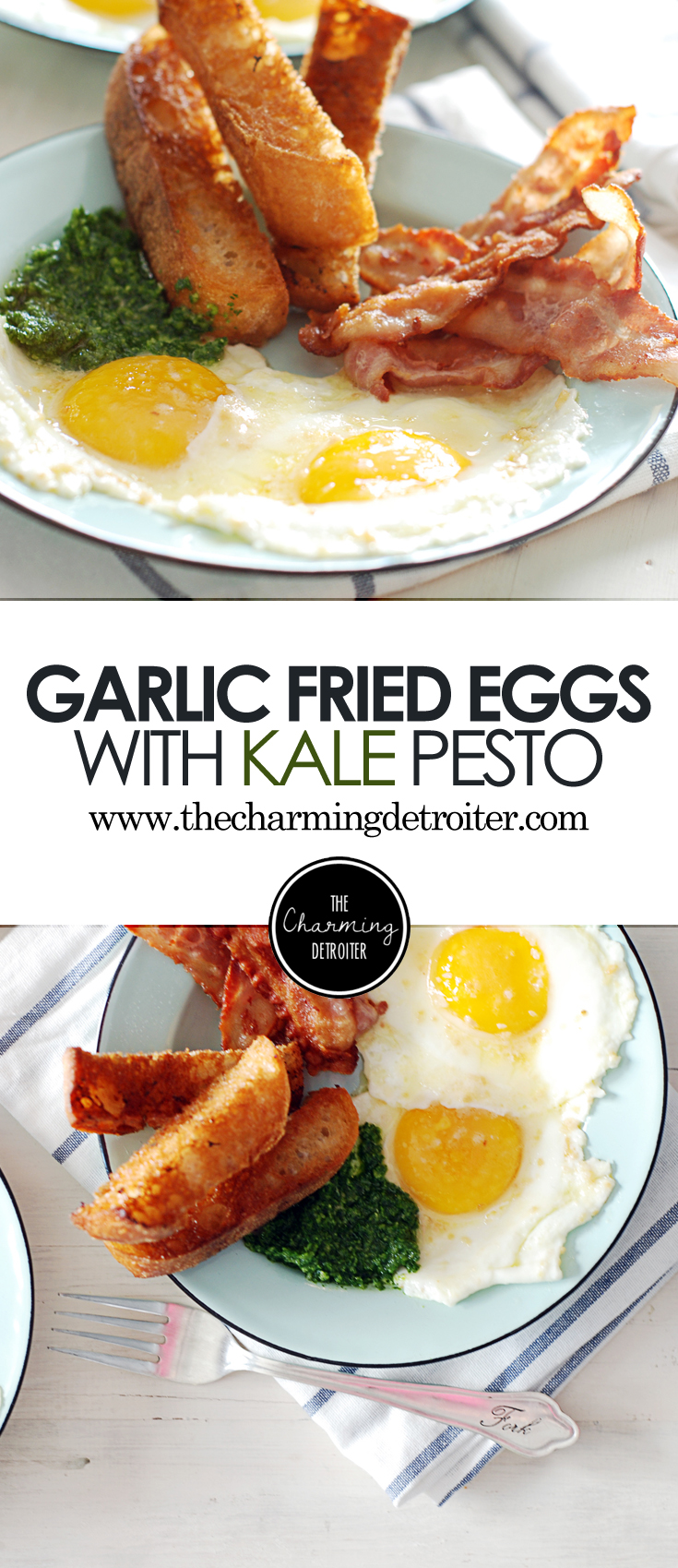These eggs with kale pesto are fried with garlic and paired with crispy toast points, oven cooked bacon, and a beautifully refreshing lemon bacon vinaigrette.
