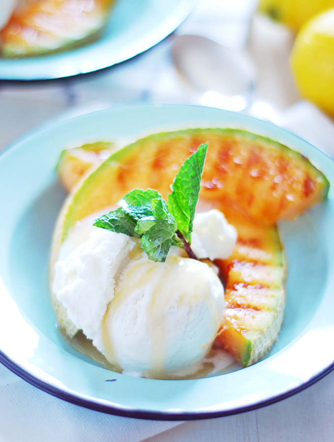 Grilled Melon with Ice Cream and Lemon Honey Drizzle