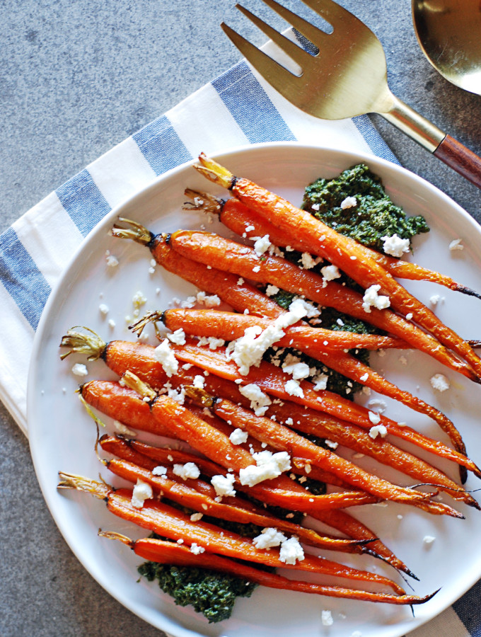 Oven Roasted Carrots with Pesto and Goat Cheese
