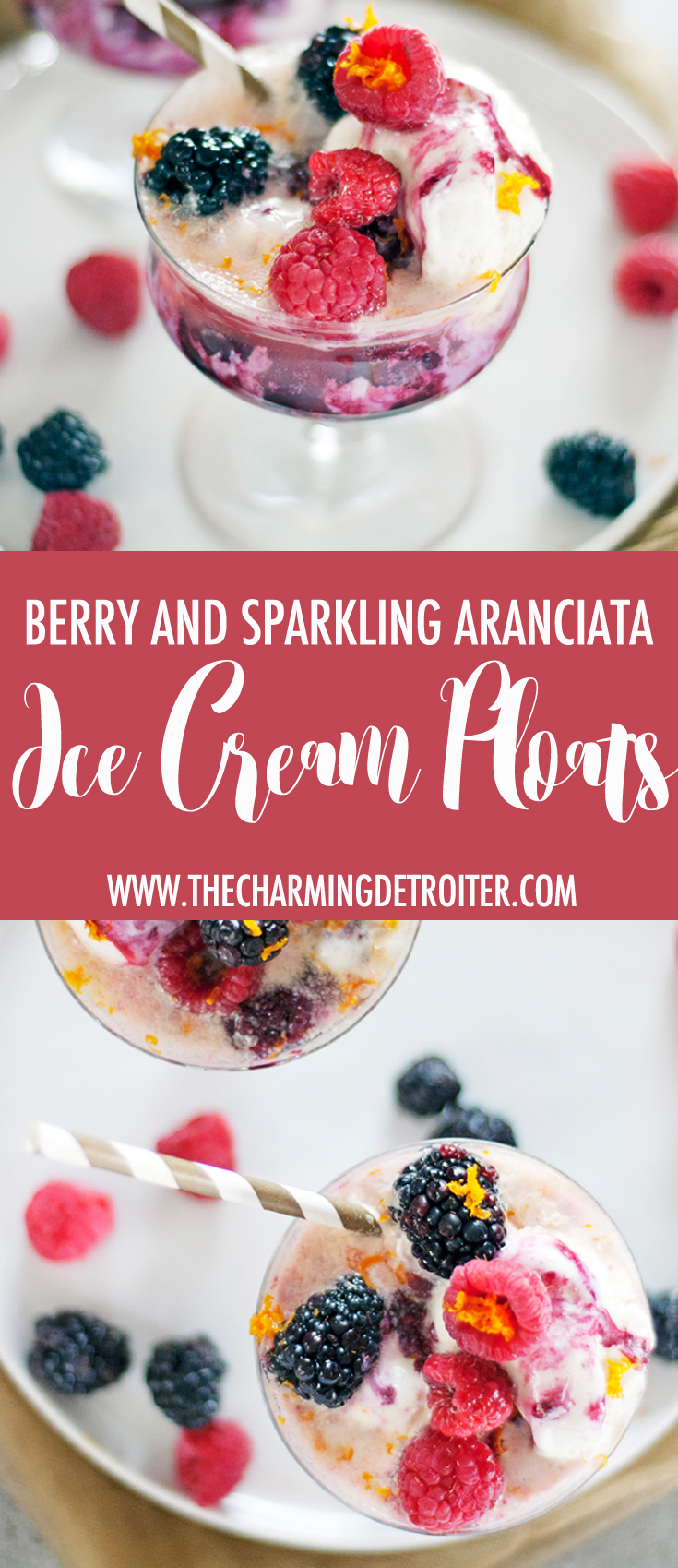 These simple ice cream floats are perfect for cooling down this summer! They feature a tasty berry syrup, fresh berries, and sparking aranciata.