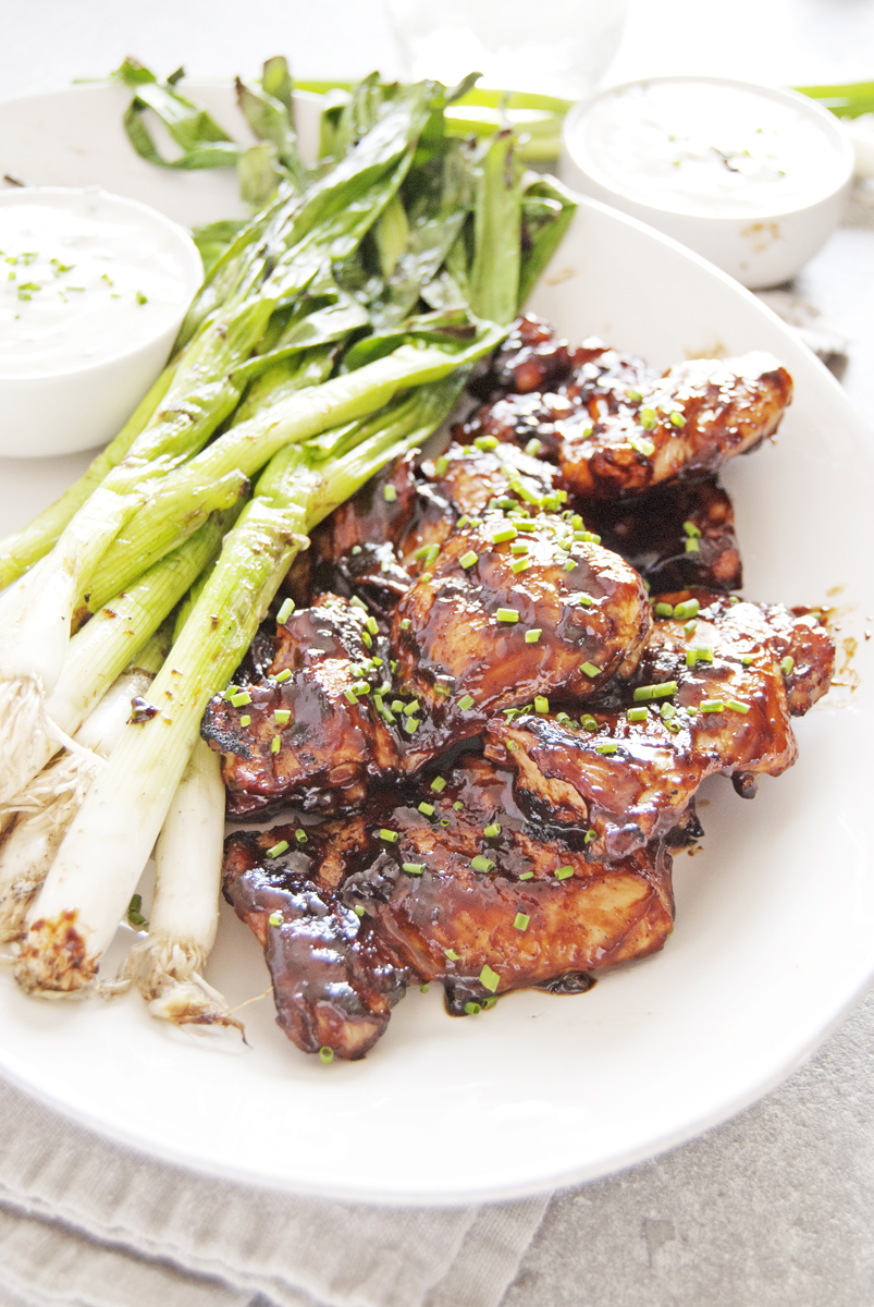 Grilled BBQ Chicken Thighs with Scallions