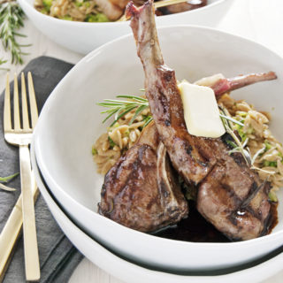 Grilled Lamb Chops with Balsamic Brown Butter Sauce