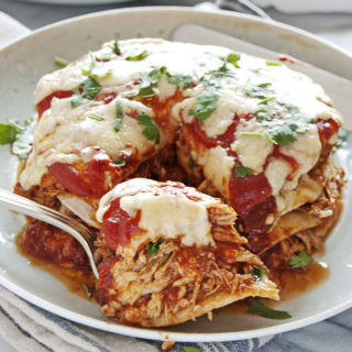 Mini Crockpot Chicken Enchiladas