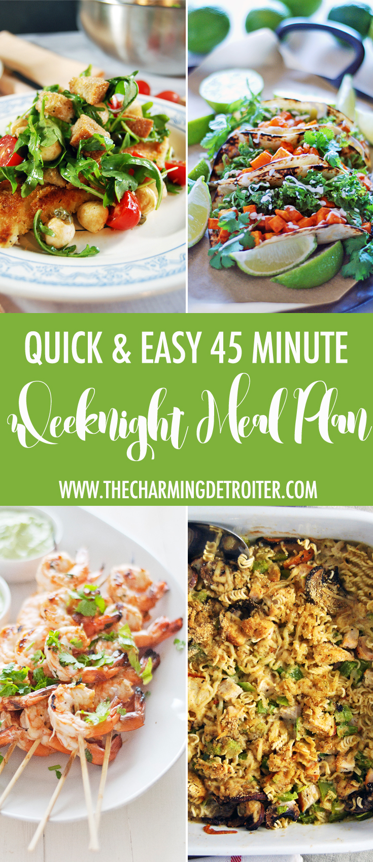 Weeknight meal planning can be a challenge, so save time with my week full of 45 minute meals, including full grocery list!