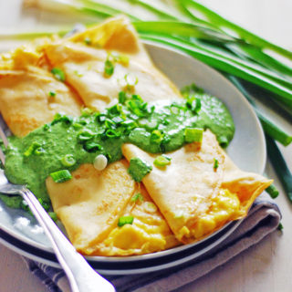 Scrambled Egg Breakfast Crepes with Spinach Sauce