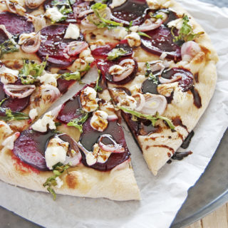Goat Cheese, Shallots, and Roasted Beet Pizza