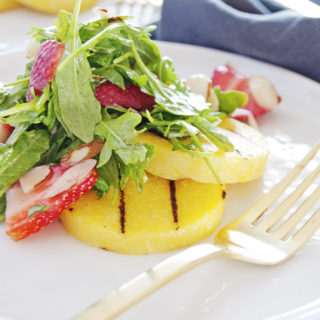 Strawberry Arugula Salad with Grilled Polenta Croutons