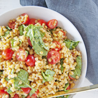 Toasted Pearl Couscous Salad with Lemon Dijon Vinaigrette